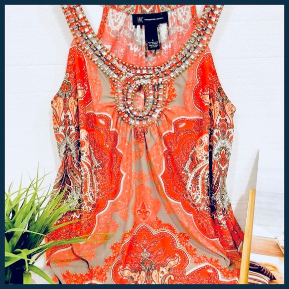 4566844af490 INC International Concepts Tops - ✨ Gorgeous Sleeveless Embellished Collar  Blouse✨